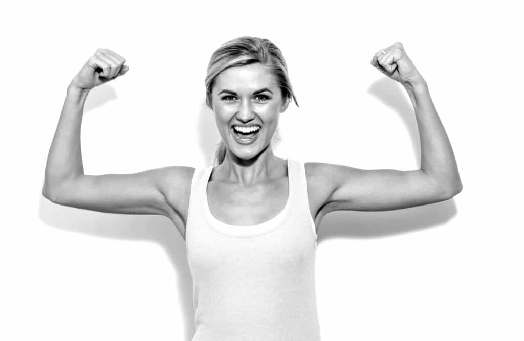 Powerful,Young,Fit,Woman,On,A,White,Background